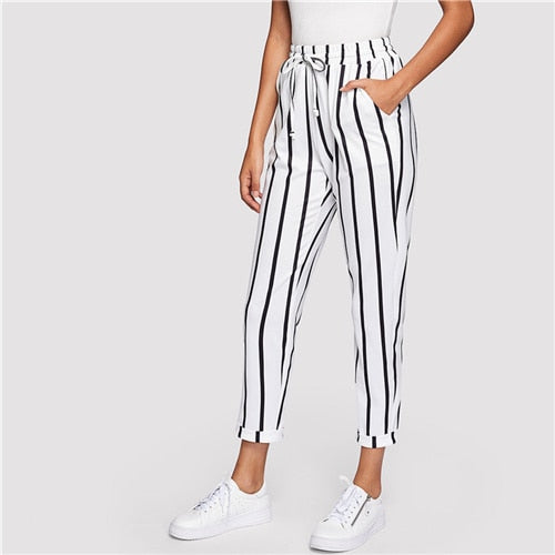 Black and White Casual Drawstring Waist Striped High Waist Tapered Carrot  Women Trousers