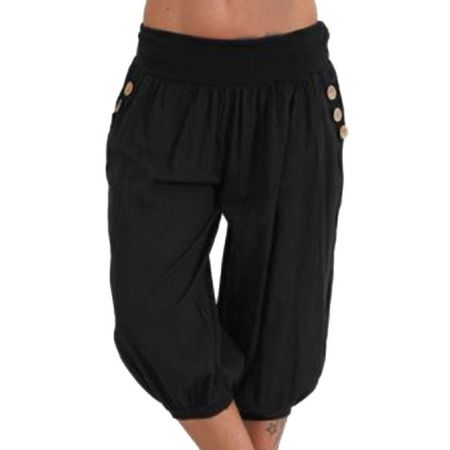 Women Pants Fashion short Trousers Elastic Waist Pantalon