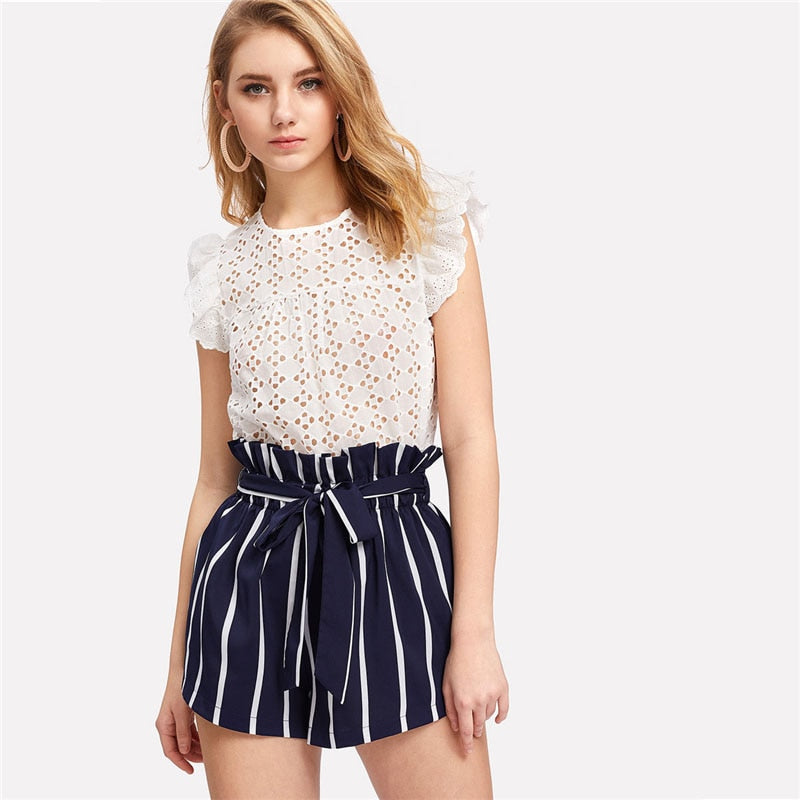Belted Ruffle Waist Striped Boho Shorts Women Navy High Waist Loose Bottom Shorts