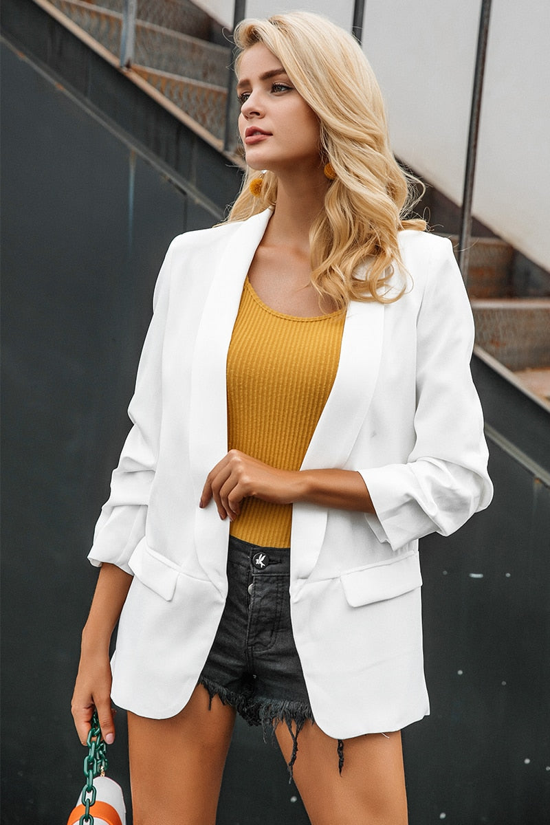 Turn-down pocket blazer coat women  sleeve black suit blazer