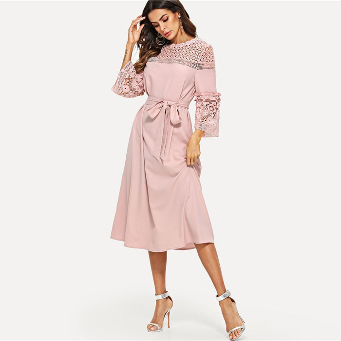 Lace Yoke and Sleeve Pearl Beading Belted Dress Pink 3/4 Sleeve Women Autumn Elegant Dress
