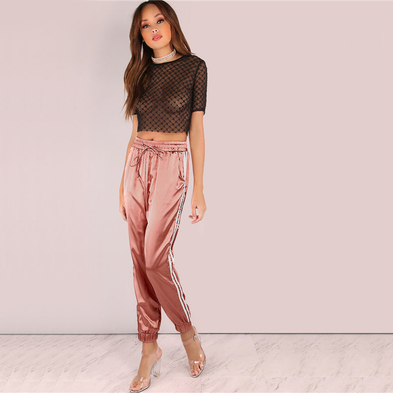 Mid Waist Pants Women Satin Trousers Women Loose Sweatpants