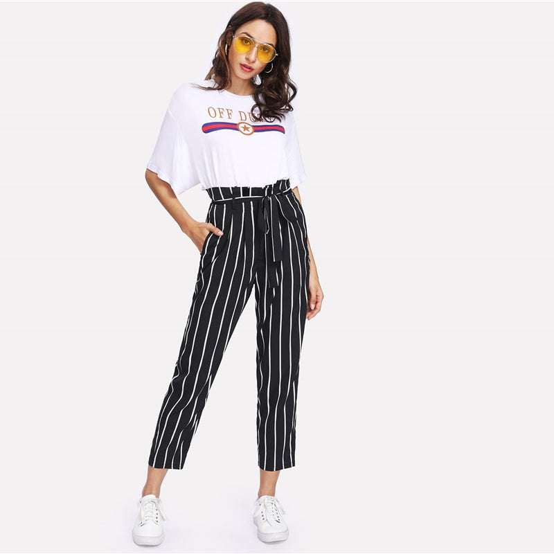 Self Belt Striped Pants Women fashion Clothing High Waist Trousers