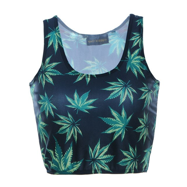 Crop Tops Womens 3D Tattoo Leaves Print Blouse Punk Woman Vest Crop Top New Hot Fashion