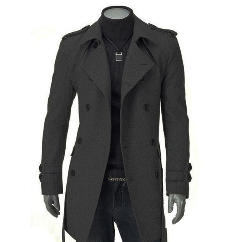 Winter Men Warm Jackets Black Grey Faux Wool Trench Men Slim Fit  Long Coat