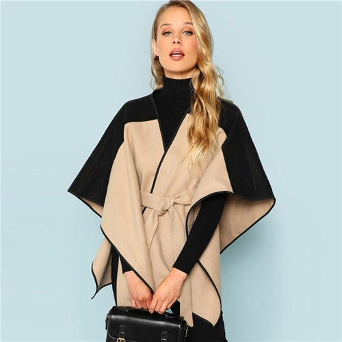 Khaki Cut and Sew Lace Up Coat Elegant 3/4 Sleeve Belted Outer Coats Women
