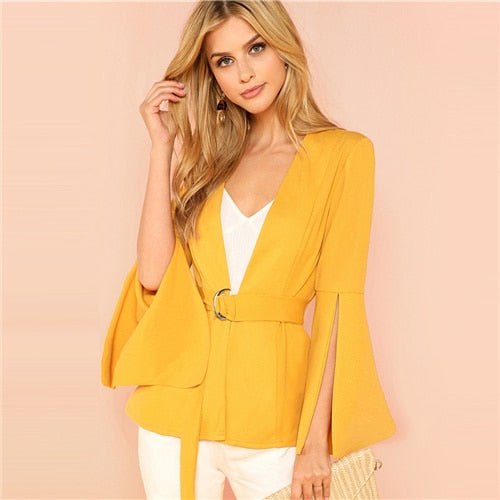 Yellow Split Sleeve Belted Outerwear Office Ladies Long Sleeve Women Coat