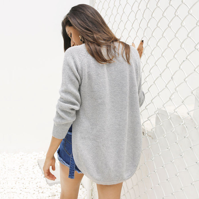Trendy side split knitting pullover Soft sweater women