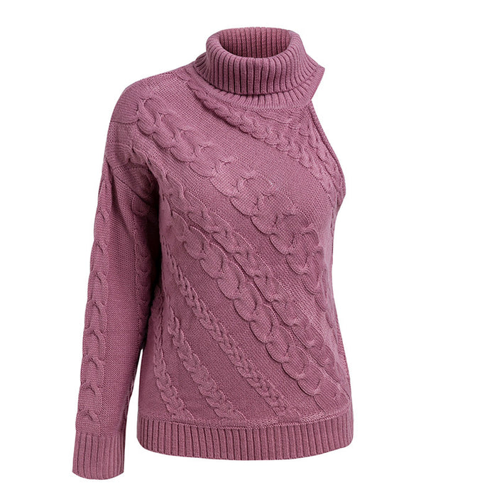 Turtleneck one shoulder knitted sweater women