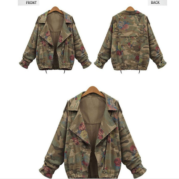 Winter Casual Loose Women Bomber Jacket Ladies Army Green  Long Sleeve Coat