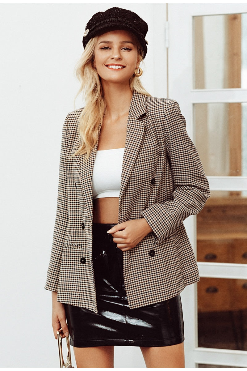 Fashion double breasted plaid blazer Female long sleeve  women  coats