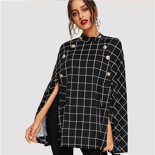 Black Highstreet Office Lady Double Button Mock Poncho Solid Elegant Coat