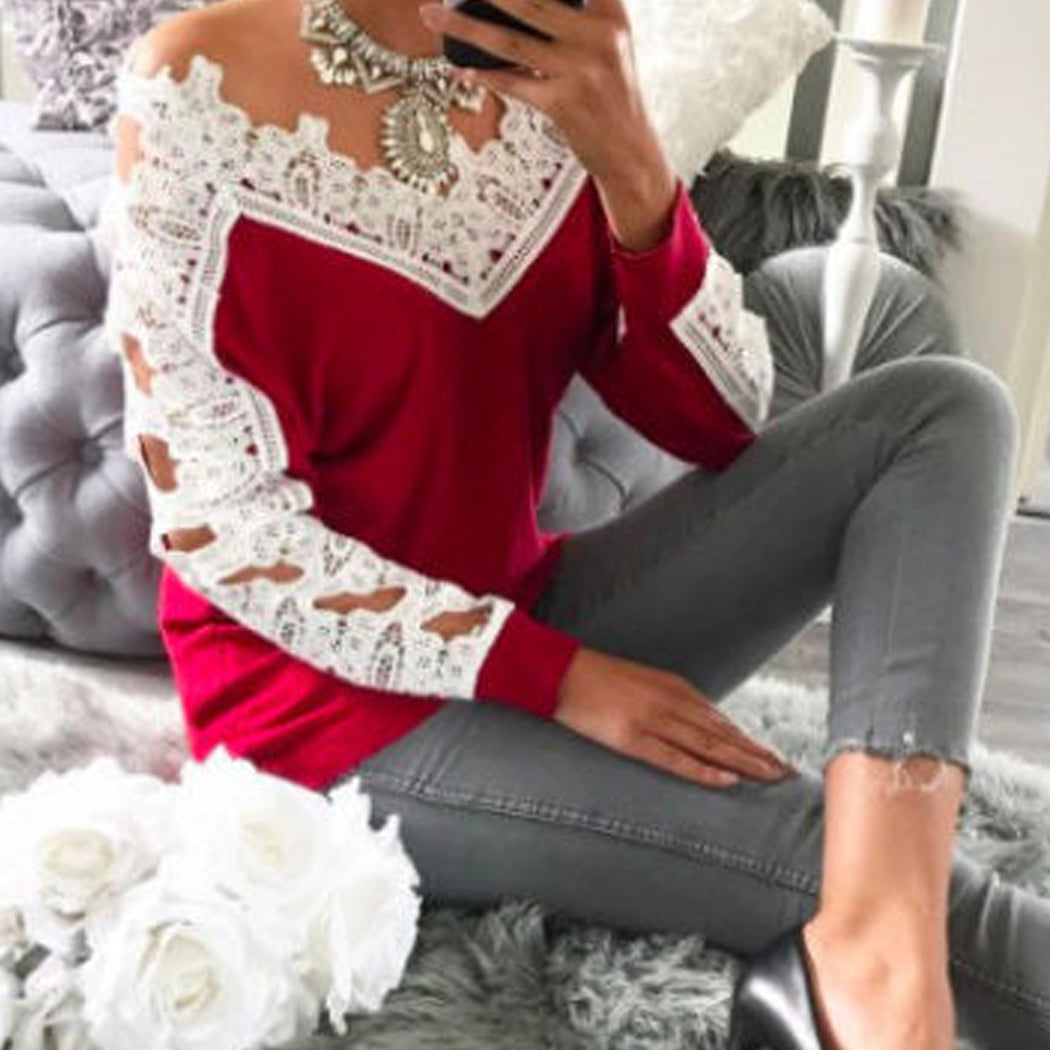 Elegant Loose Casual Long Sleeve Women Tops Sexy Ladies T-Shirts