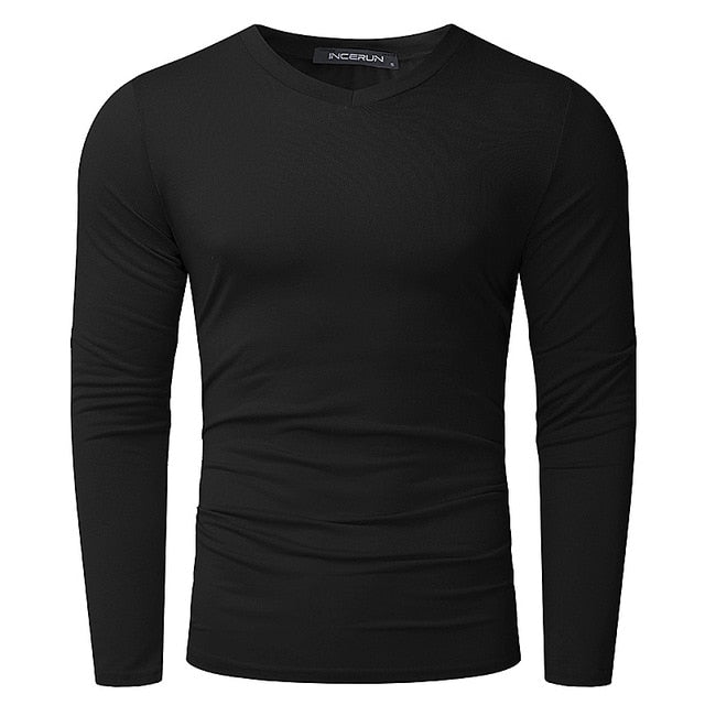 Mens T-Shirt Long Sleeve Slim Fit Thermal Men Tee Tops