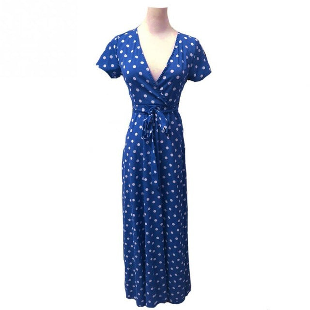 Ladies Long Dress Red White Dot Beach Dress Maxi Dress Women