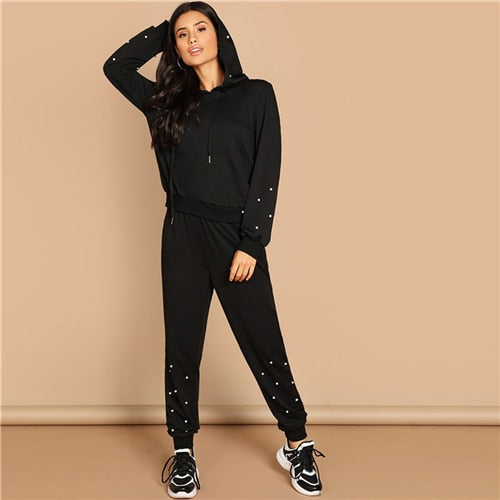 Black Casual Leisure Solid Pearl Beading Detail Hoodie Sweatshirt And Carrot Pants Women Two Pieces