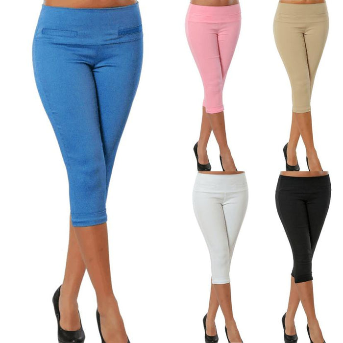 Women Calf Length Pants Solid Pocket Casual Elastic  Women leggins