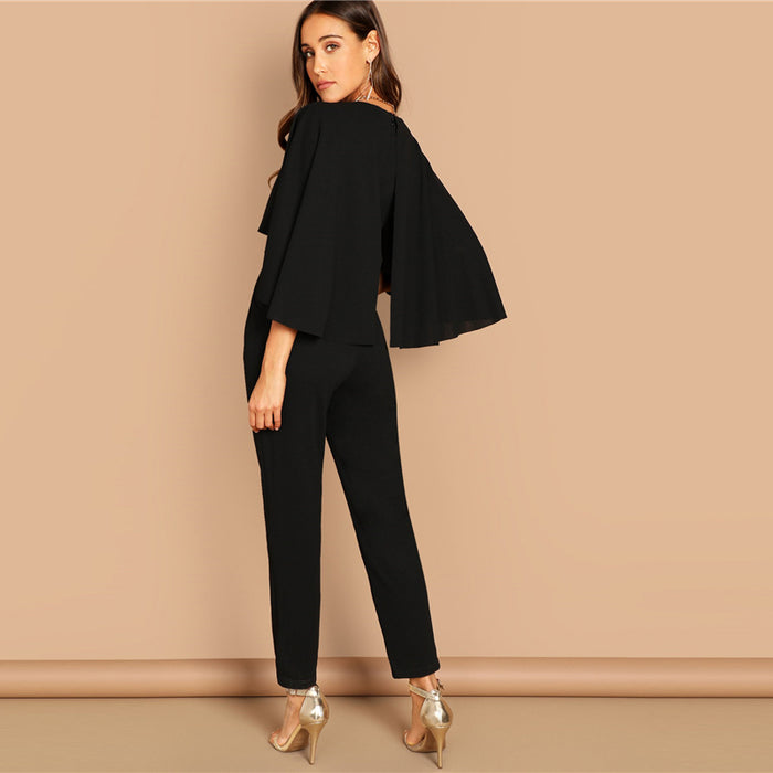 Lady Black Elegant V-Neck Solid Cape Long Sleeve Cloak Sleeve Women Jumpsuits