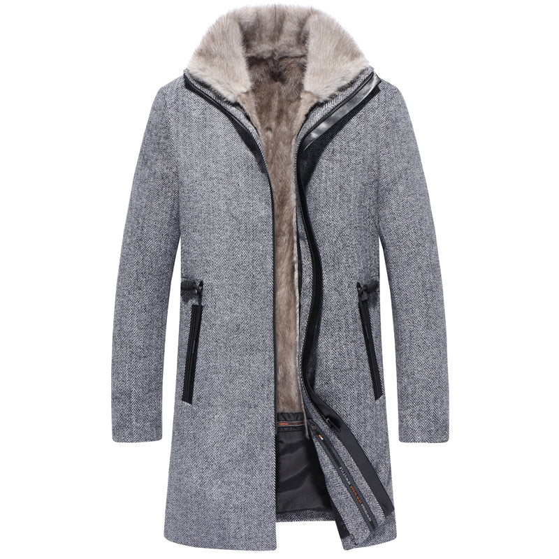 Men's Winter Jacket Natural Mink Fur Parka Men Real Wool Coats Mens