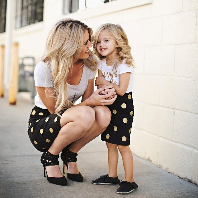 Mother Daughter  T-shirt+Skirts