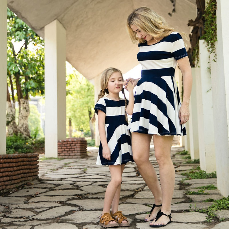 Dress  Spring Family Matching Outfits Mother And Daughter  Short Sleeve