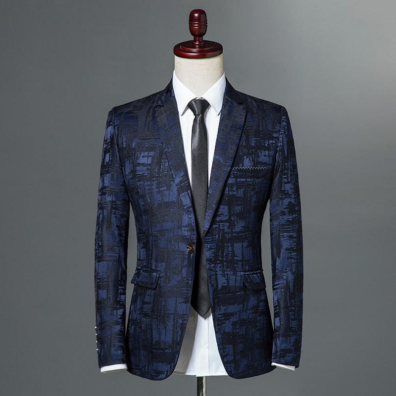 2019 New Mens Classic Leopard Print Slim Fit Blazers