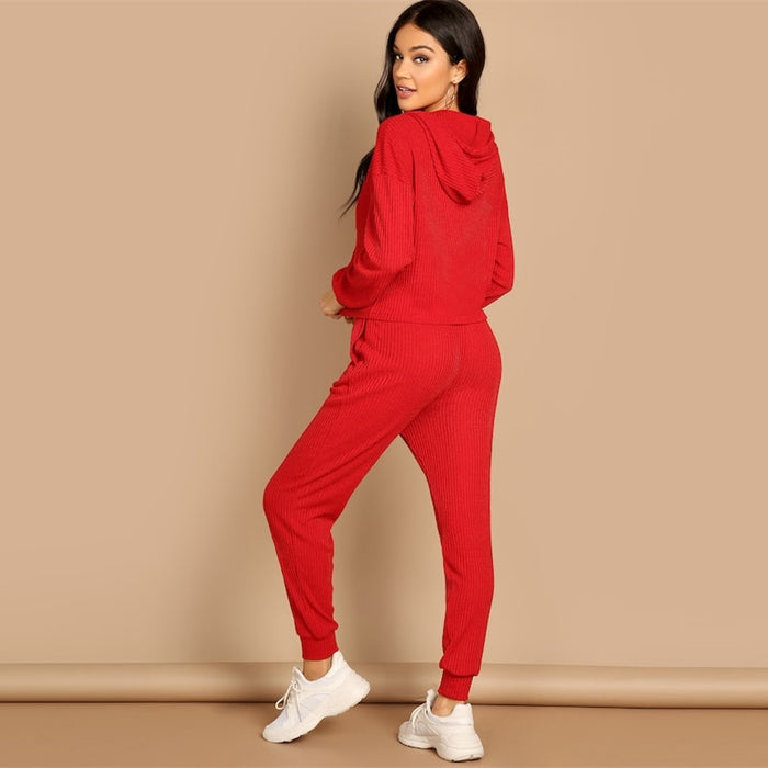 Red Pocket Patched Solid Hoodie and Drawstring Waist Pants Plain Set Women Two Pieces