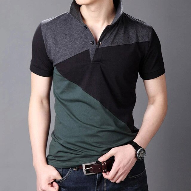 Man Spliced Shirts Tops
