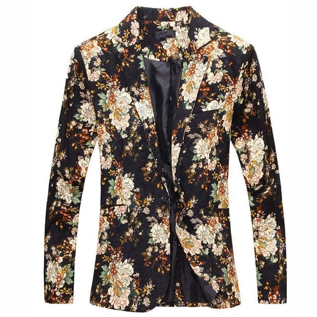 Blazer Men 2019 Fashion Floral Personality Design Casual Men Blazer  Masculino Slim Comfortable