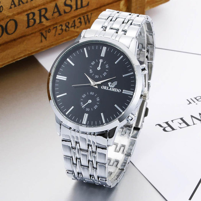 Watch Men Quartz Watches Fashion Stainless Steel Band Analog Quartz Round