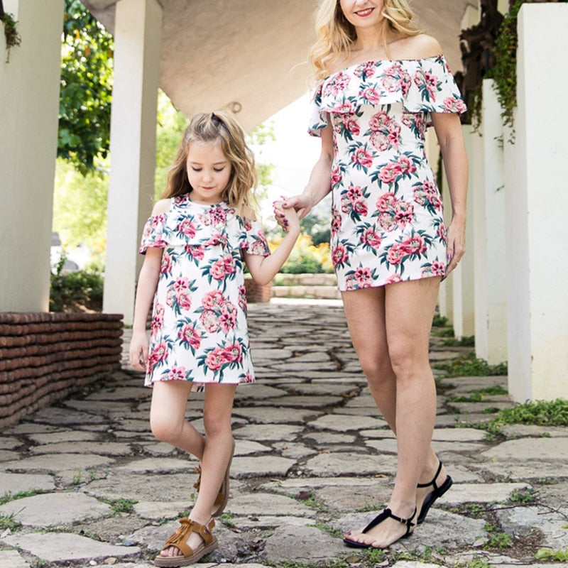 Mother daughter matching summer dress