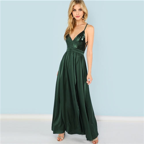 Maxi Dress Sexy Satin Women Evening Party