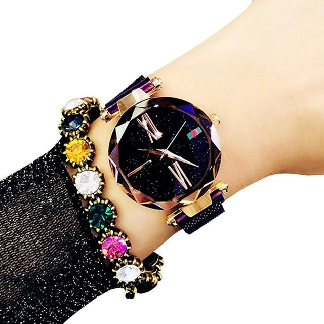 Women Wrist Quartz Watch Stars Pattern