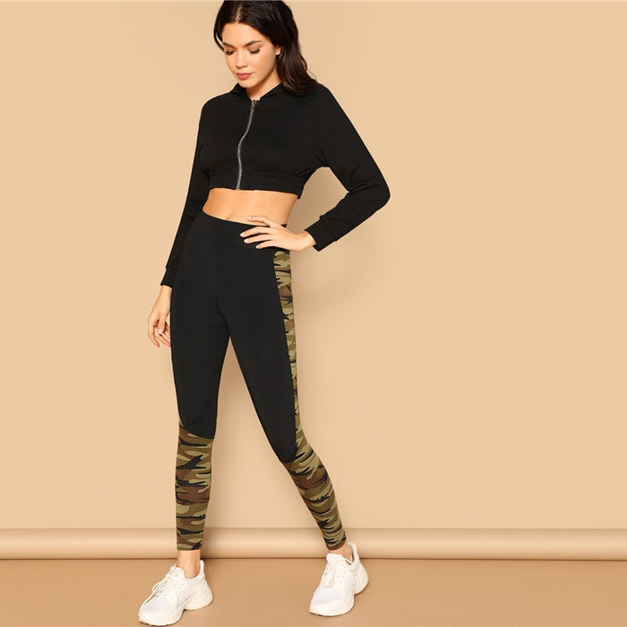 Wide Waist Camouflage Print Skinny Sporting Leggings Women