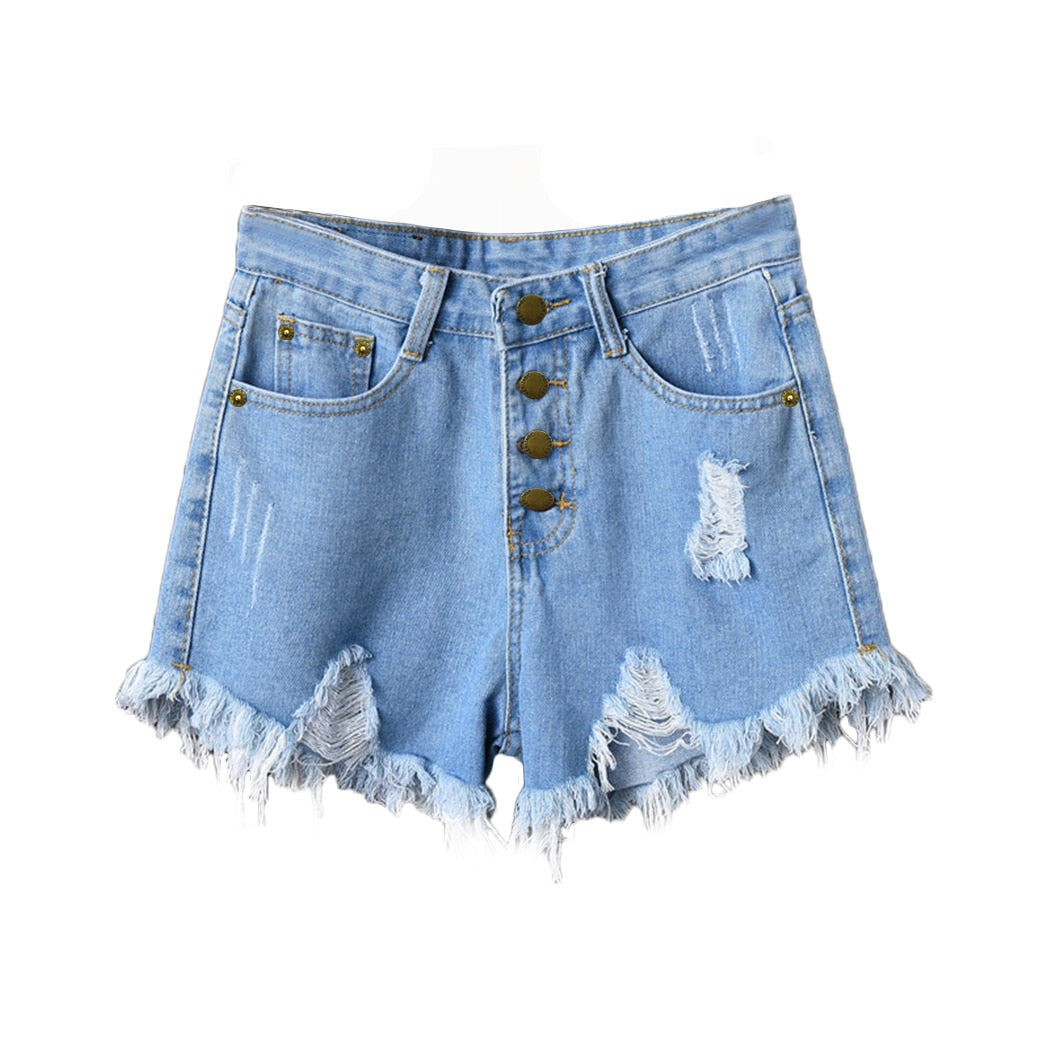 Women Shorts High Waists Denim Shorts Fur-Lined