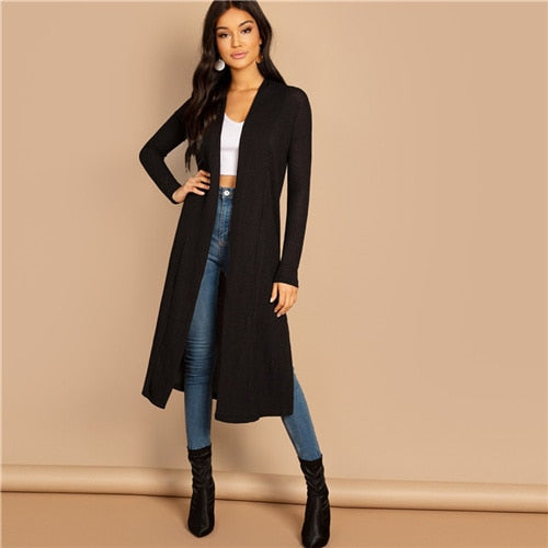 Black Split Side Longline Plain Long Sleeve Cardigan Women Outerwear Coat