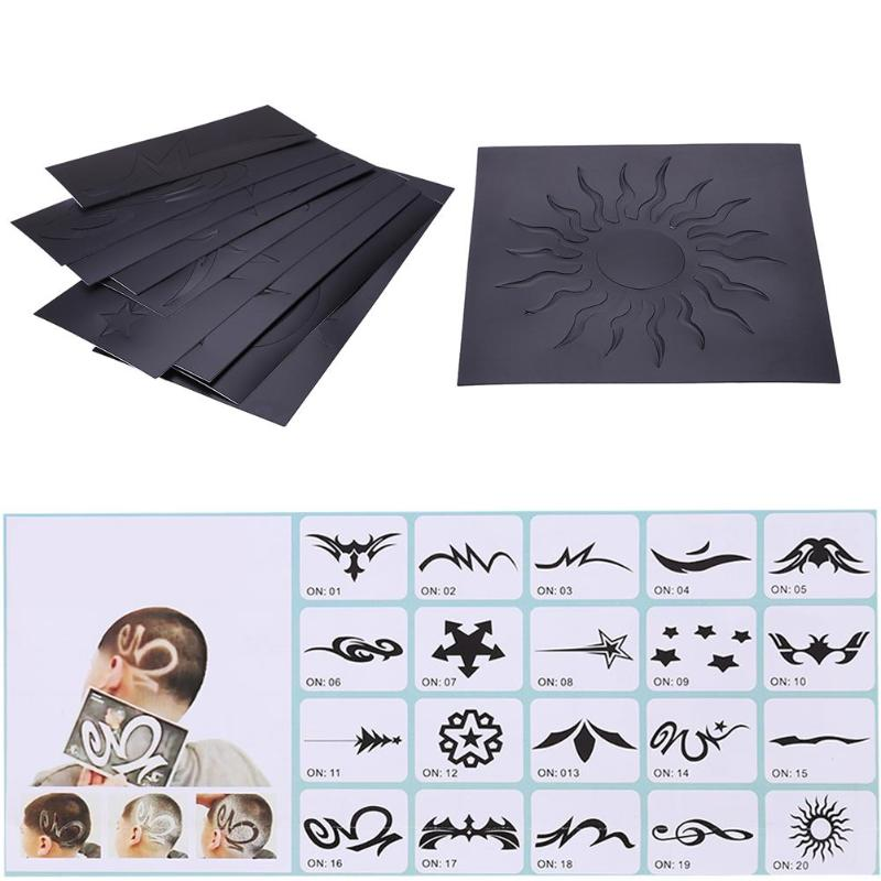 20pcs Hair Tattoo Templates Hair Trimmer Carved Coloring Pattern Stencil DIY