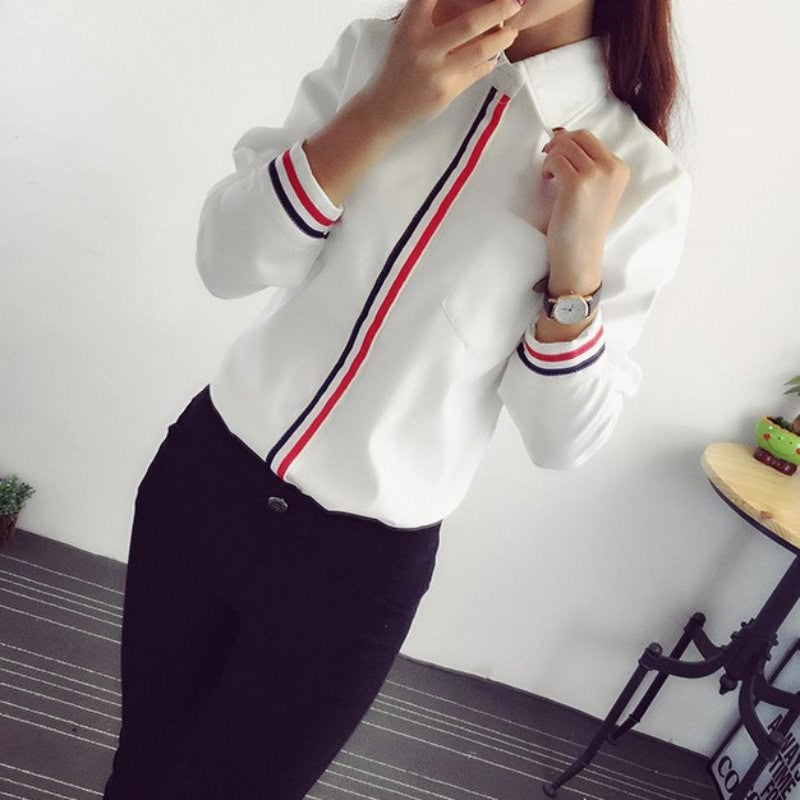 Fashion Women White Cotton Elegant  Blouses Long Sleeve