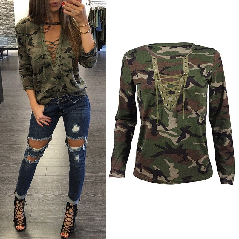 Fashion Women's Sexy V-neck Long Sleeve  Bluse T-Shirt Tops