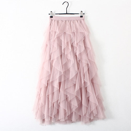 Fashion Tutu Tulle Skirt Women Long Maxi Skirt 2019