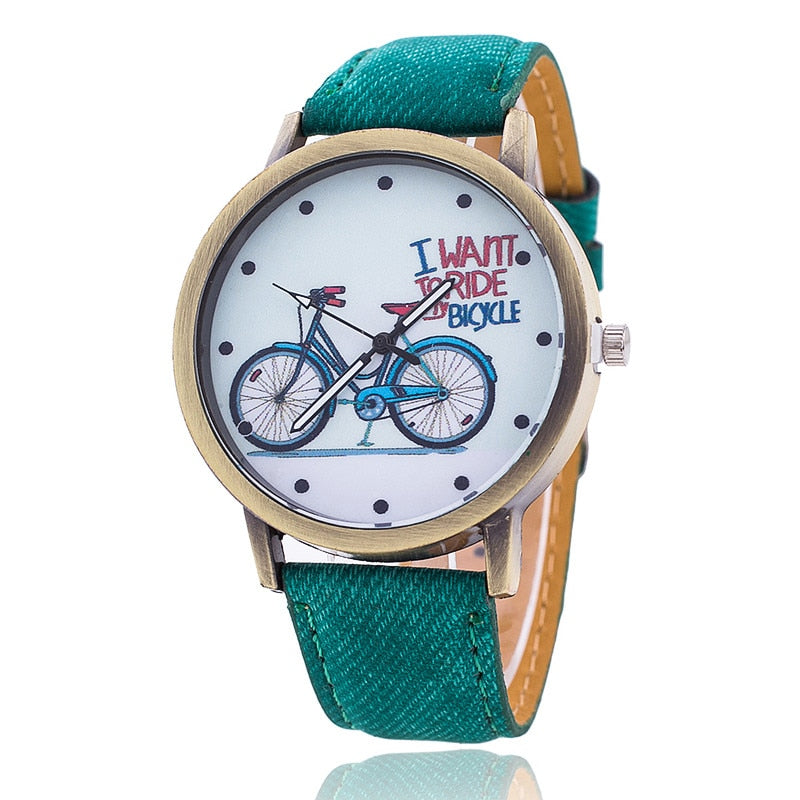 Jeans Strap Watch For Women Leather Bike Watch Fashion