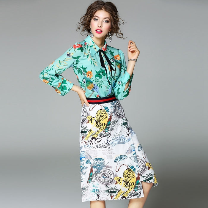 New Runway vintage flowers Print suits sets Women long-sleeved bow shirt Blouses And Retro skirt