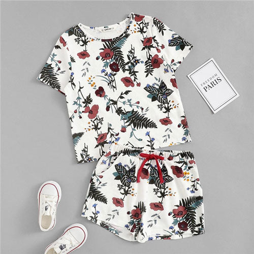 Girls Botanical Print Top And Drawstring Shorts Cotton Sleeve Shorts