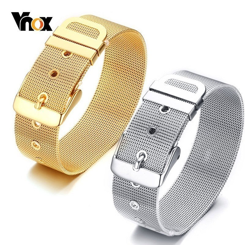 Vnox Men's Watch Band Link Strap Bracelets for Women 12/18 MM Wide Stainless Steel Mesh pulsera masculina Adjustable Length