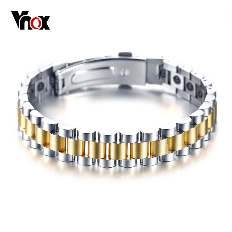 Vnox Bio Power Energy Bracelets for Women Men Hematite Stones Stainless Steel Watch Band Style Unisex Jewelry Pulseira