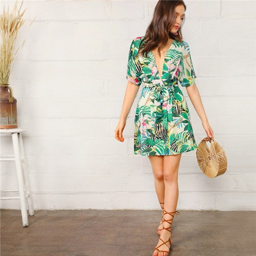 V Neck Open Back Chain And Tropical Print Sexy Dress Women