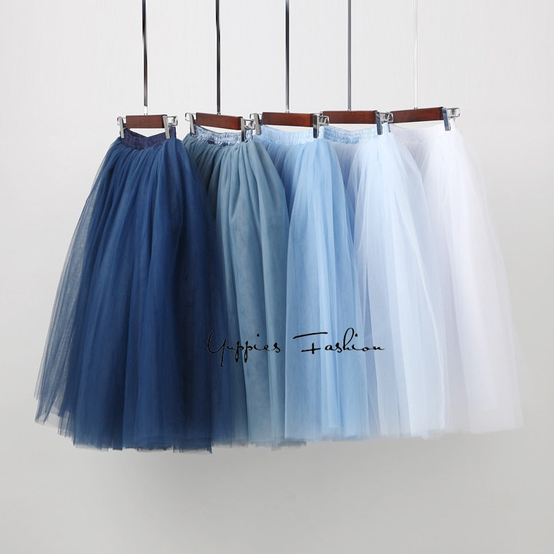 Streetwear 7 Layers 65cm Midi Pleated Skirt Women High Waist Tulle Skater Skirt 2019