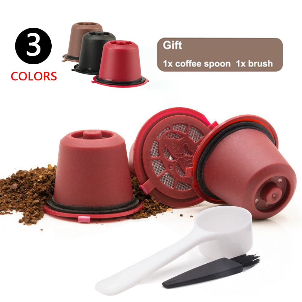 3pcs/pack Refillable Reusable Nespresso Coffee Capsule cafe With 1PC Plastic Spoon Filter