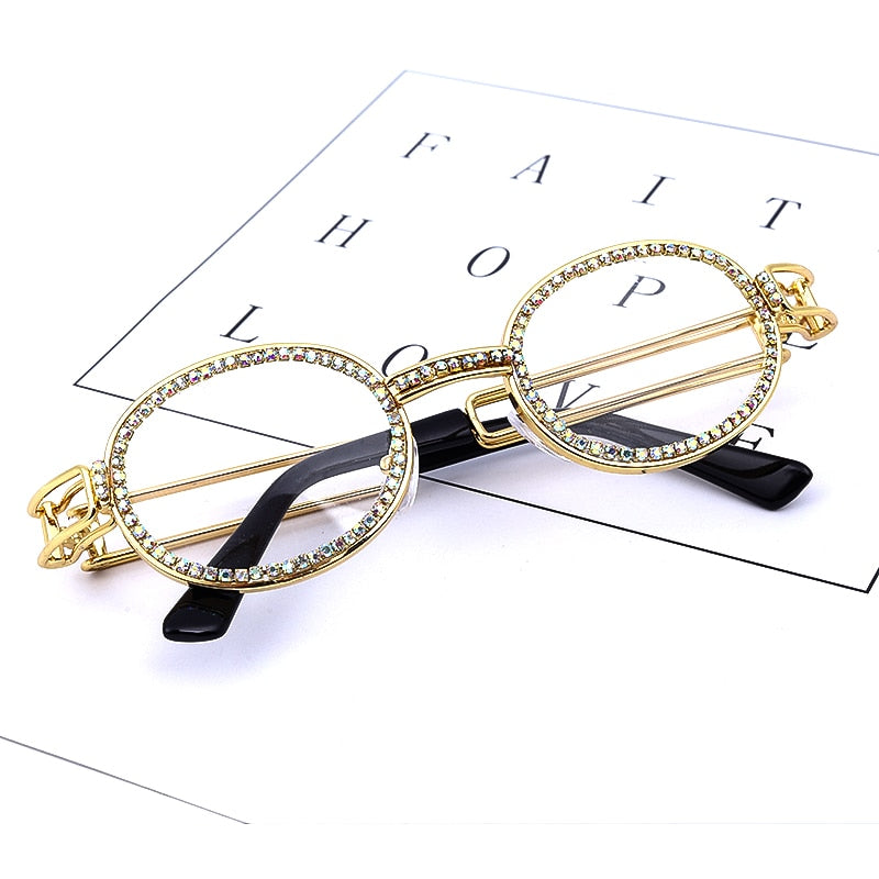 Small Round Diamond Sunglasses Women 2019 Brand Designer Fashion Steampunk Colorful