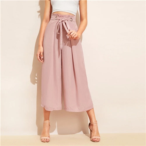 Knot Waist Fold Pleat Wide Leg Pants Women Pink Solid Loose Belted Trousers 2019 Elegant  Pants